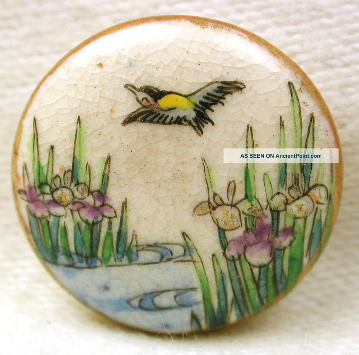 Antique Meiji Era Satsuma Button Colorful Bird & Iris Pictorial 11/16