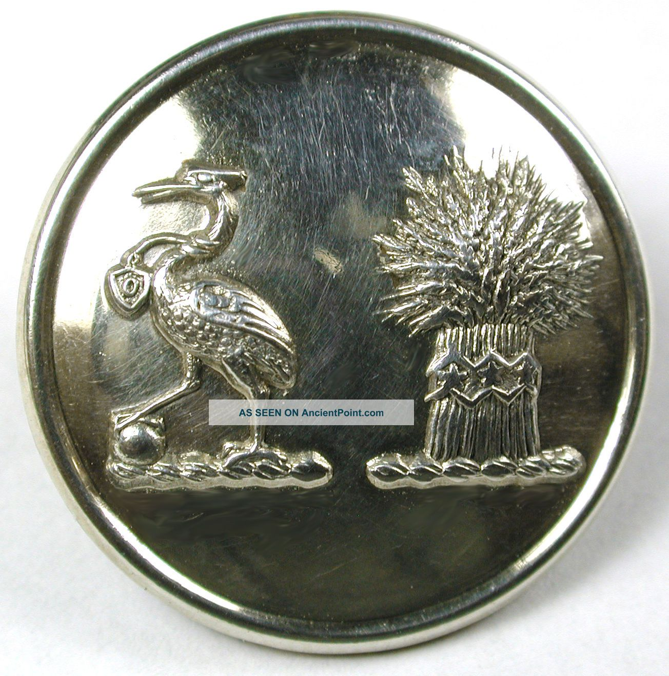 Antique Livery Button Dual Crest - Heron W/ Ball & Sheaf Of Wheat - Weldon - 1