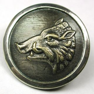 Antique Silver On Brass Sporting Button Boar Head Design - Paris Back - 15/16