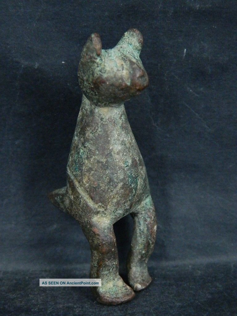 Ancient Bronze Cat Islamic 1200 Ad $br2041 Greek photo