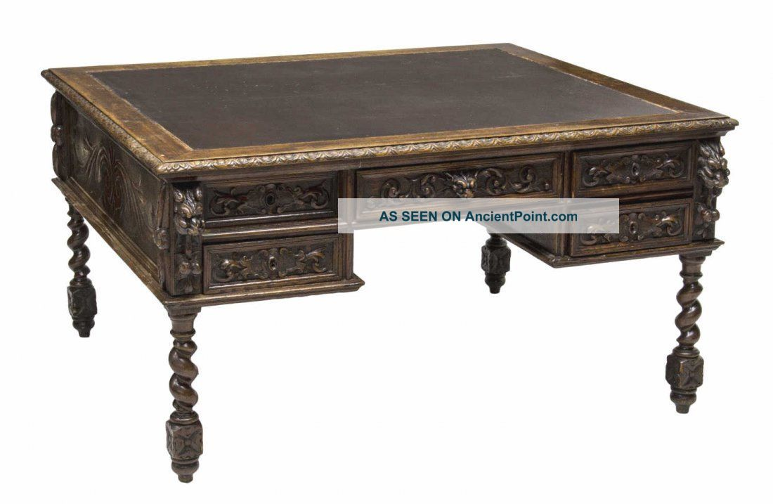 French Renaissance Revival Carved Partners Desk 19th Century (1800s) 1800-1899 photo