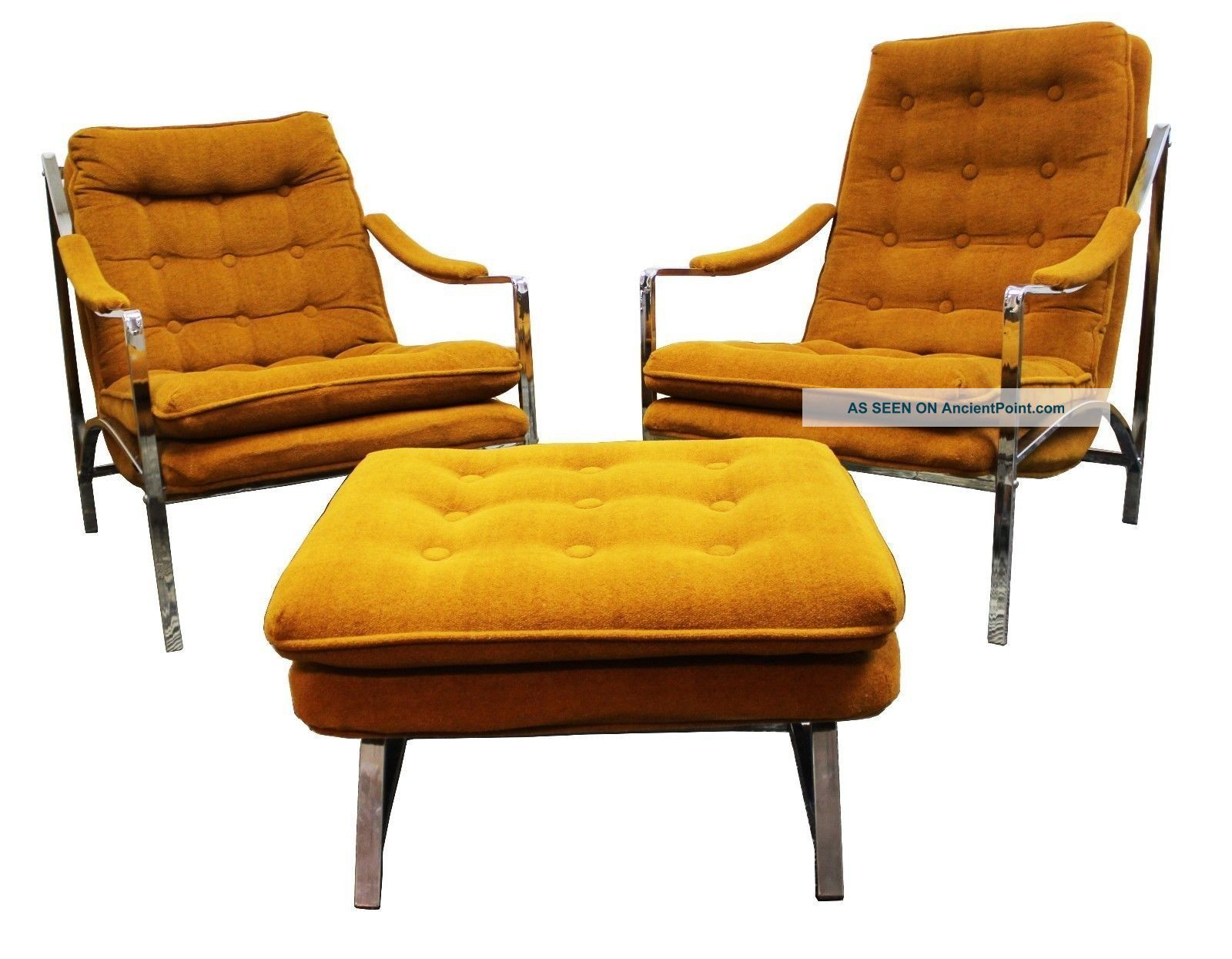Mid Century Modern Milo Baughman Chrome Scoop Lounge Chairs And Ottoman Post-1950 photo