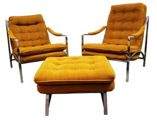 Mid Century Modern Milo Baughman Chrome Scoop Lounge Chairs And Ottoman photo