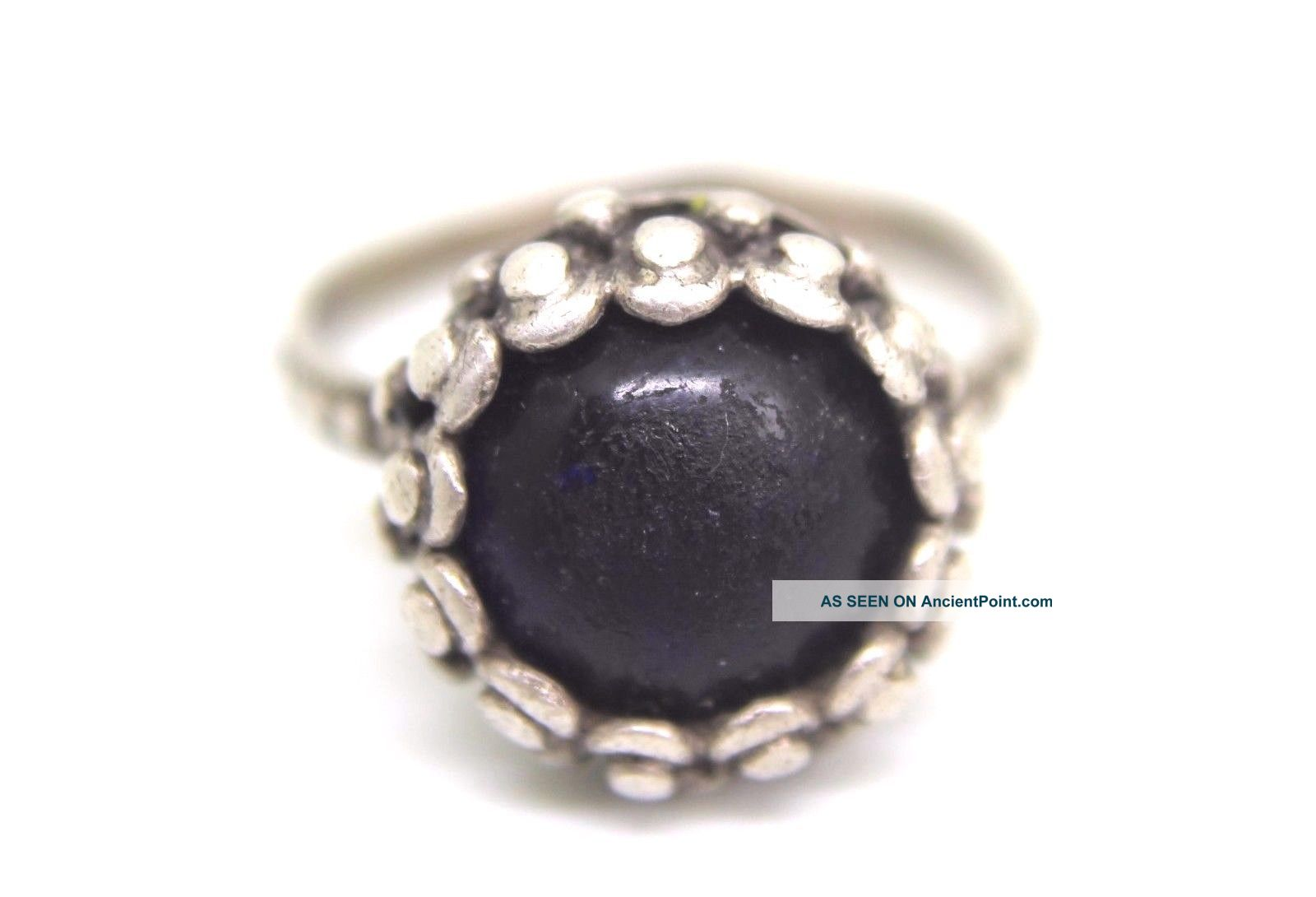 Gorgeous Antique Roman Silver Ring With Gem Stone - Blue - Lovely Piece.  V301 Roman photo
