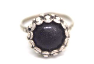 Gorgeous Antique Roman Silver Ring With Gem Stone - Blue - Lovely Piece.  V301 photo