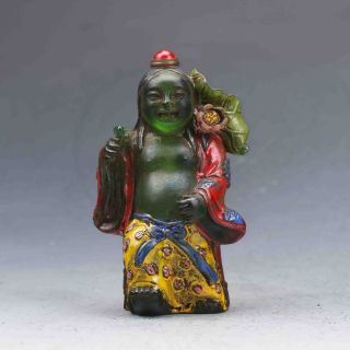 Chinese Colourful Glazed Carved Elder&lotus Snuff Bottles photo