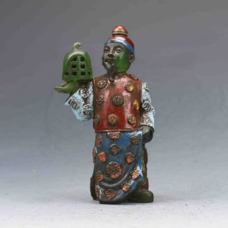Chinese Colourful Glazed Hand - Carved Elder&bird Cage Snuff Bottles photo
