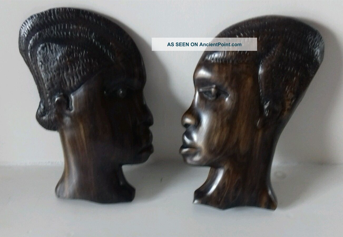 Hand Carved Wooden African Ethnographic Man & Woman Wall Plaques Other African Antiques photo