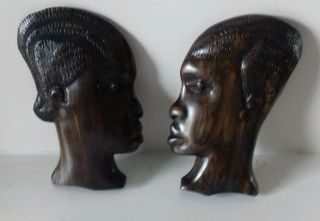 Hand Carved Wooden African Ethnographic Man & Woman Wall Plaques photo