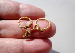 Ancient Roman Gold Rings Pendants,  Nicely Twisted And Granulation Decoration photo