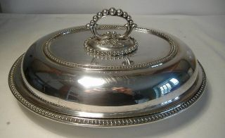 Mappin & Webb Silver Plated Oval,  Lidded Entree Dish With Snap To Handle. photo