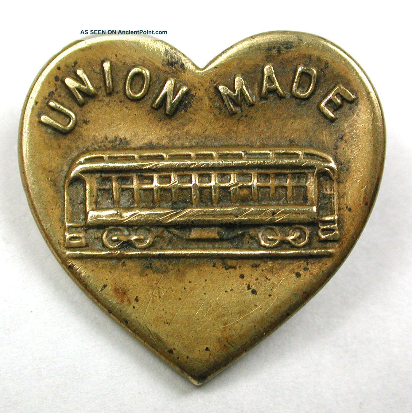 Antique Brass Rebus Work Clothes Button