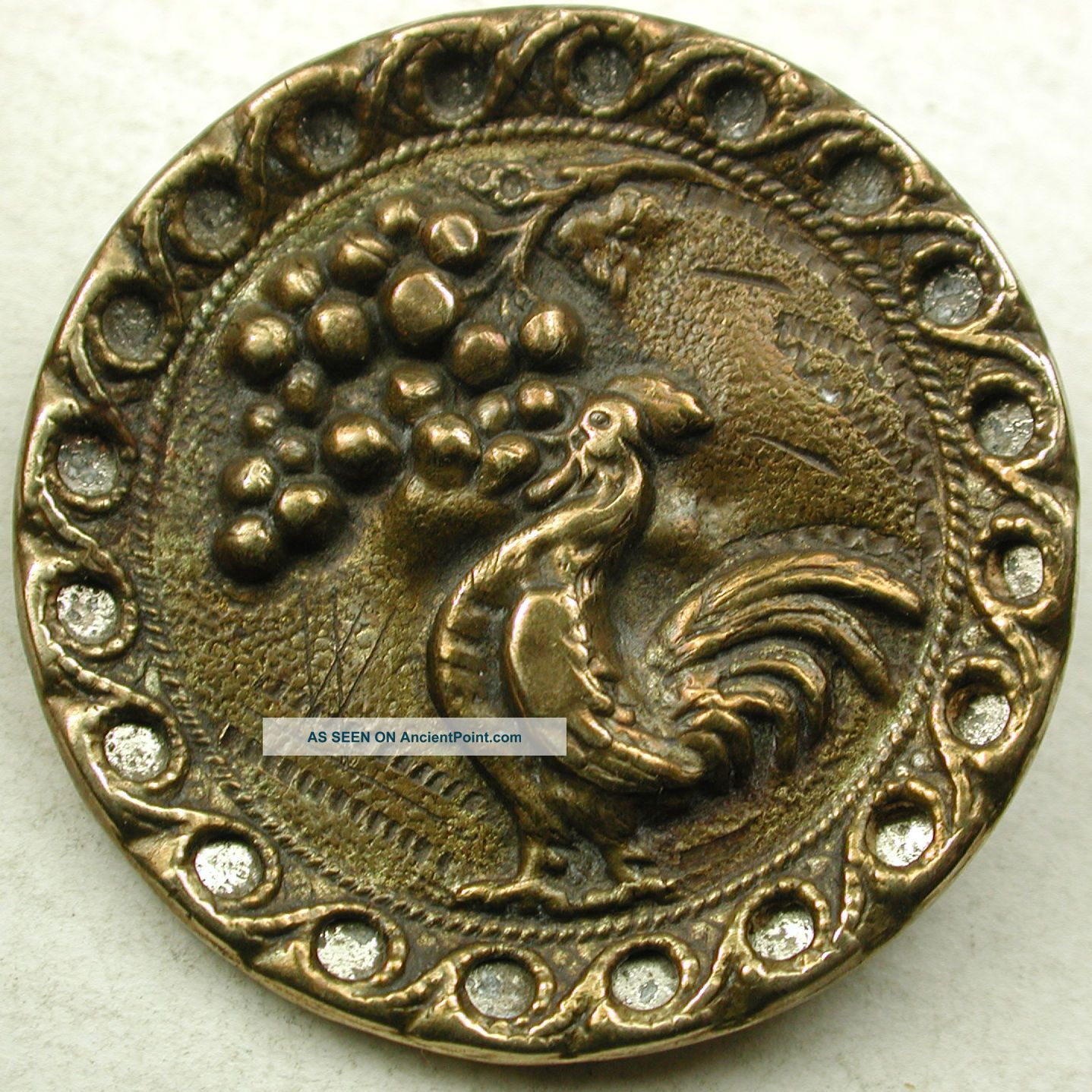 Antique Brass Button Rooster Eating Grapes W/ Cutout Border Design - 1 & 5/16
