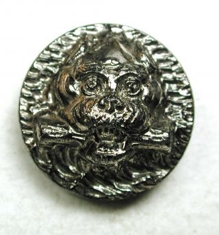 Antique Black Glass Button Detailed Bull Dog W/ Stick Pictorial - 11/16
