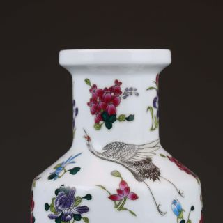 Chinese Famille Rose Porcelain Hand Drawn Flowers & Birds Vase W Qianlong Mark photo