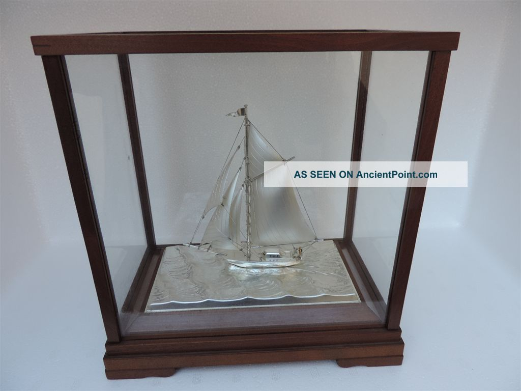 Masterly Hand Crafted Old Japanese Sterling Silver 960 Model Yacht By Seki Japan Other Antique Sterling Silver photo