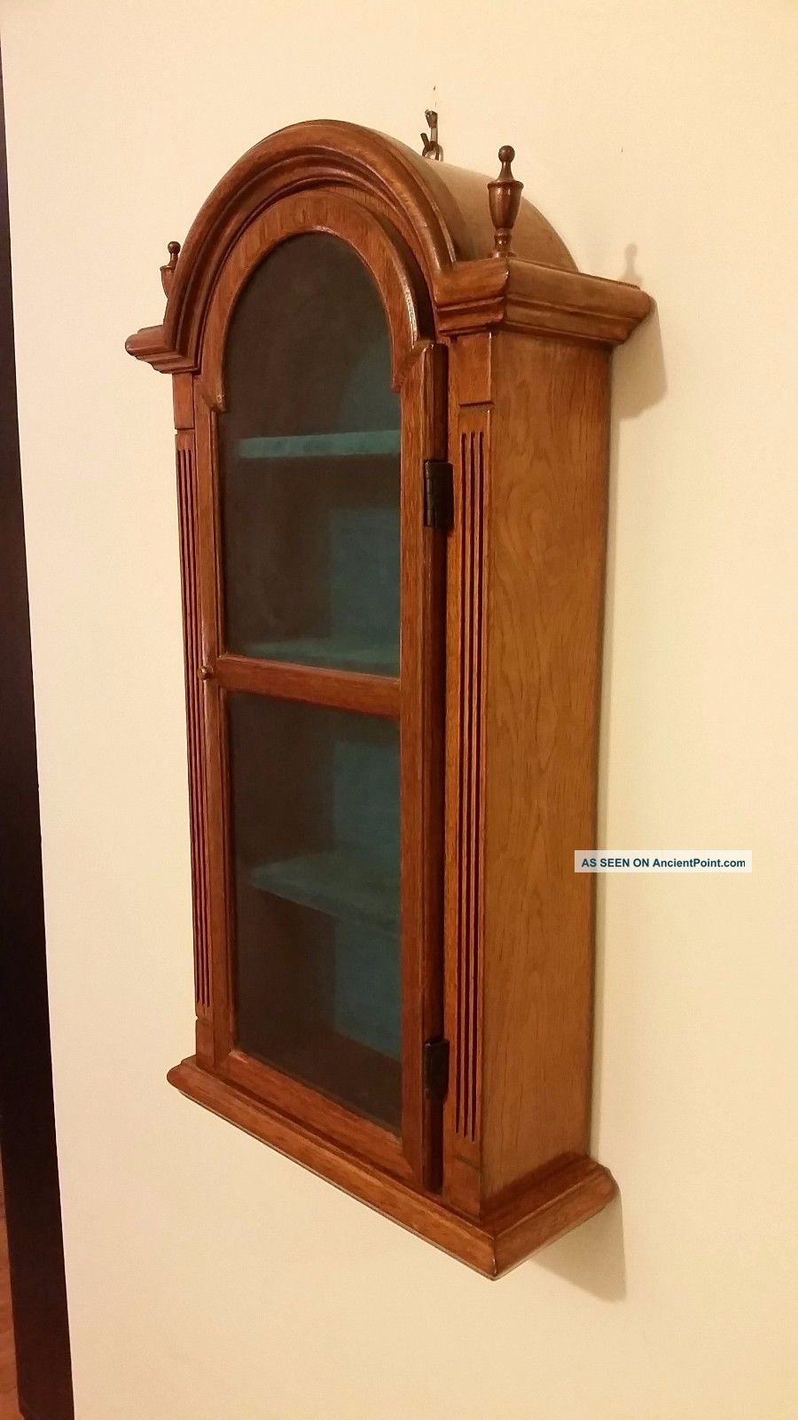 Antique Wood Wall Mounted Curio Cabinet With Glass Door Unknown photo