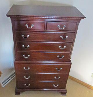 Kindel Furniture Tall Mahogany 8 Drawer Chest Dresser photo