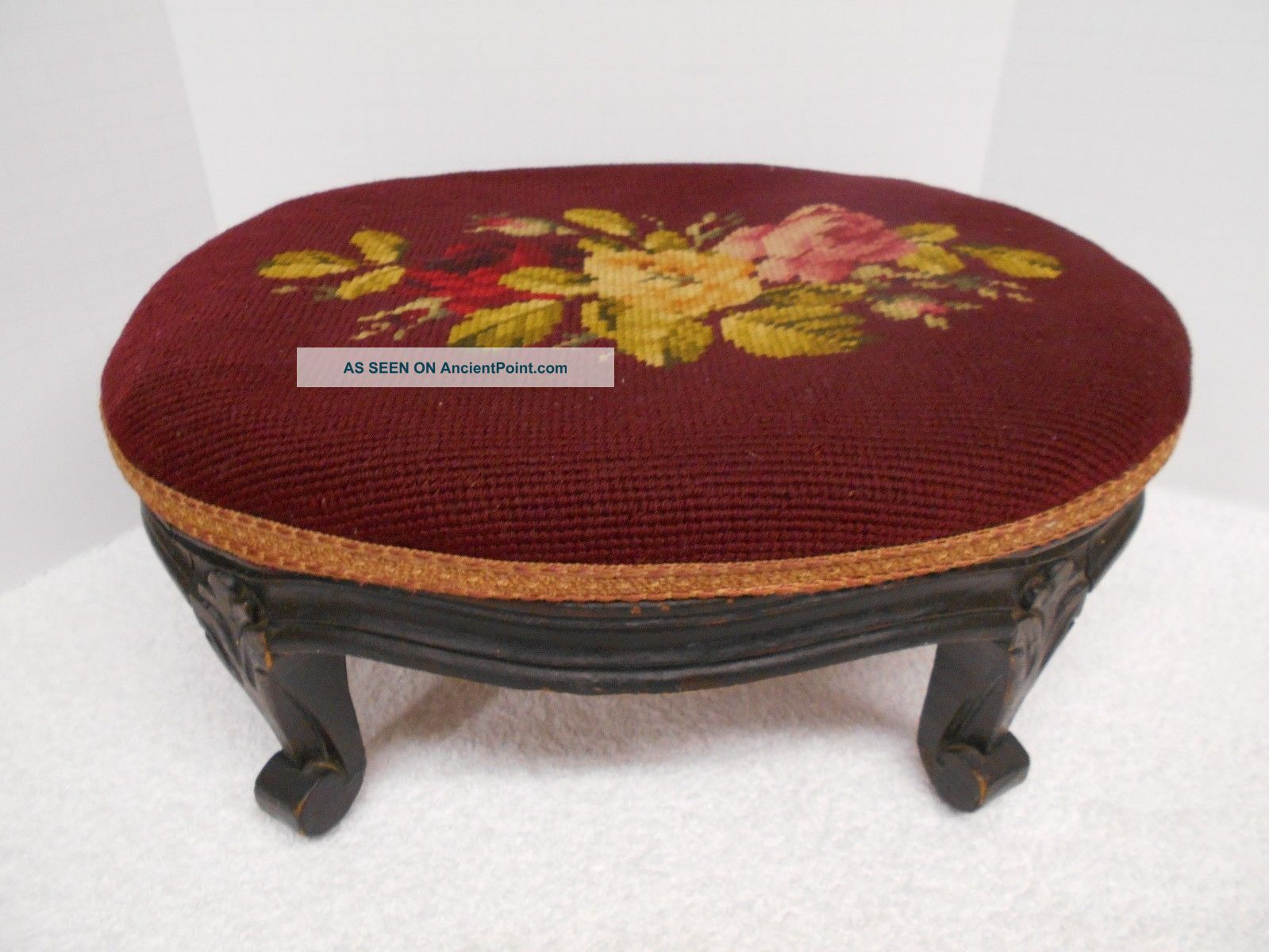 Antique Needlepoint Footstool Heavy Carved Wood Floral Burgundy Roses Unknown photo