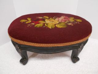 Antique Needlepoint Footstool Heavy Carved Wood Floral Burgundy Roses photo