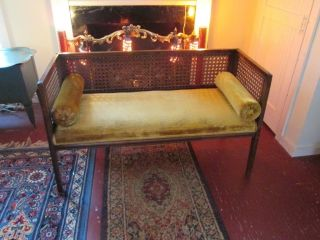 Vtg Cane Mid Century Settee photo