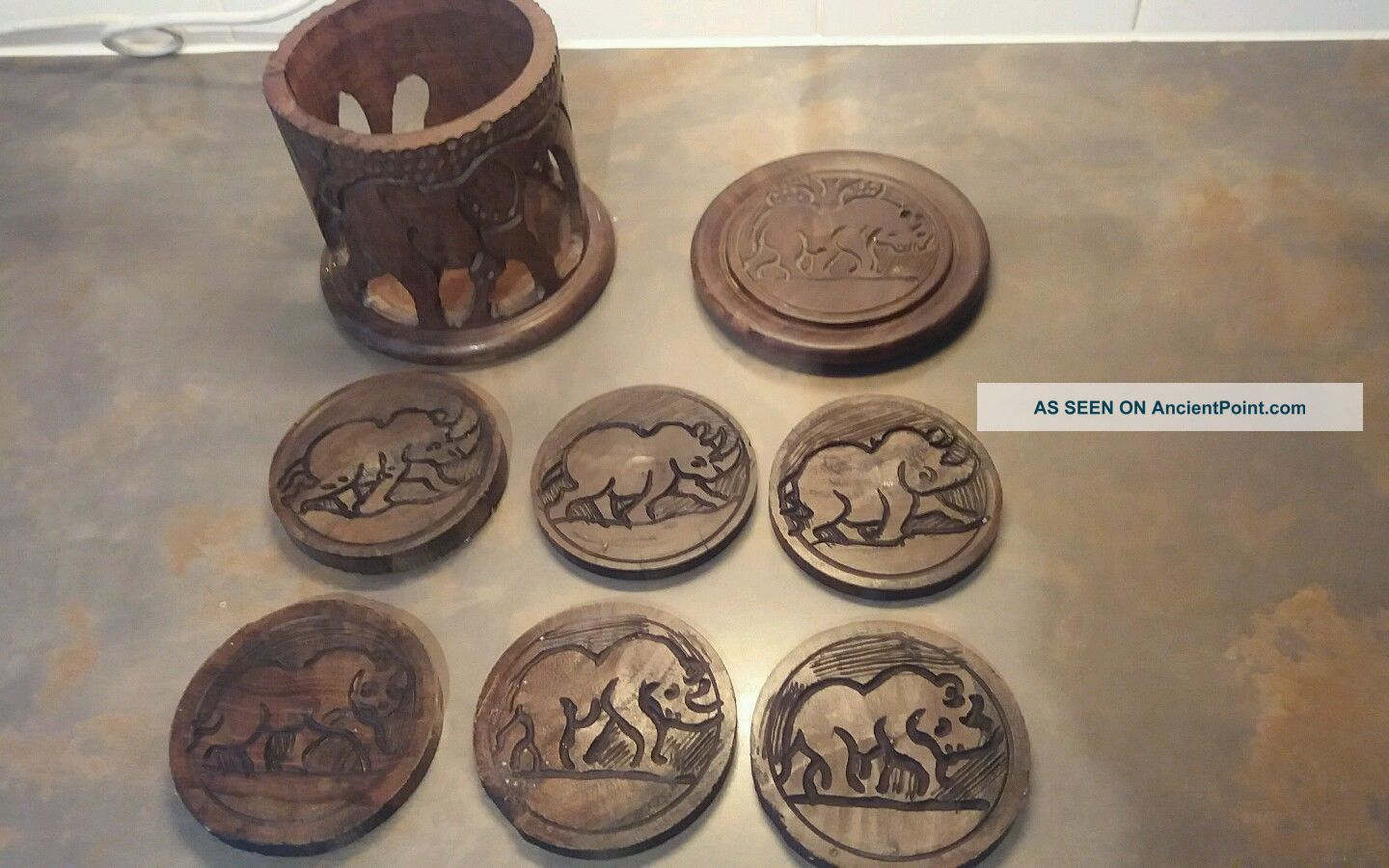African Hand Carved Wooden Coasters And Holder Other African Antiques photo