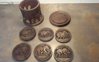 African Hand Carved Wooden Coasters And Holder photo
