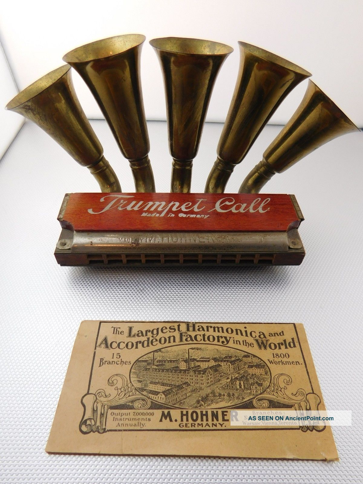 1905 1906 Hohner Trumpet Call Harmonica Box Instruction & Advert Insert Wind photo