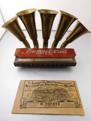 1905 1906 Hohner Trumpet Call Harmonica Box Instruction & Advert Insert photo