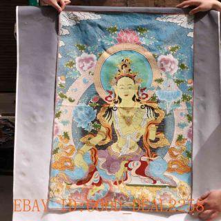 Tibetan Nepal Silk Embroidered Thangka Tara Tibet Buddha - - Samantabhadra photo