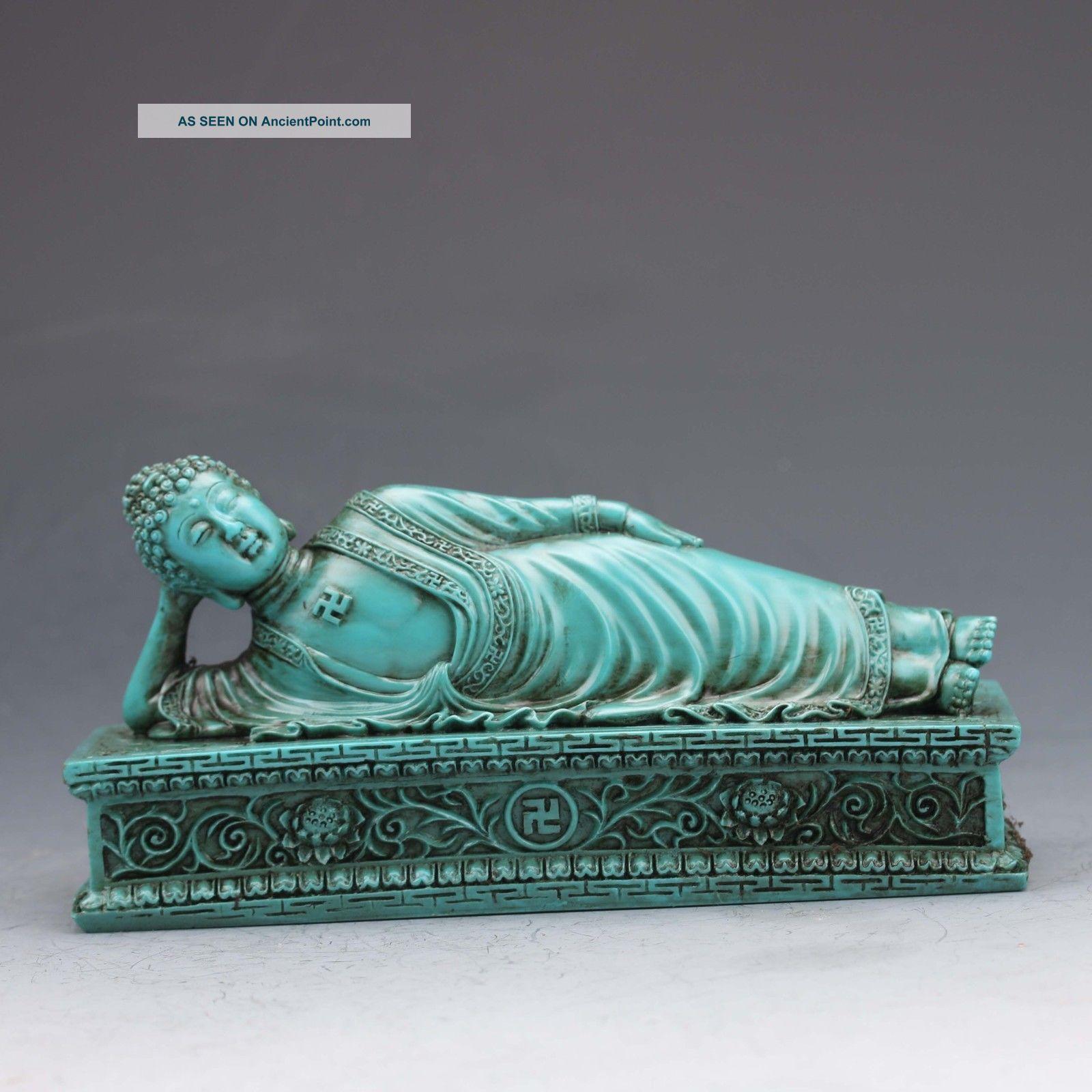 Chinese Turquoise Hand - Carved Sleeping Buddha Statue Buddha photo