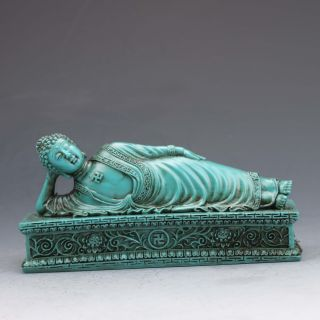 Chinese Turquoise Hand - Carved Sleeping Buddha Statue photo