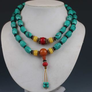 Chinese Collectibles Handwork Turquoise & Beeswax Toyed Prayer Bead Necklace photo