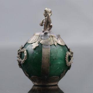 Collectable Green Jade Armor Tibetan Silver Hand - Carve Zodiac Statue - - Tiger photo