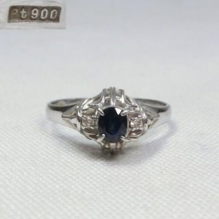 H245: Vintage Sapphire With Diamond Ring Platinum. photo