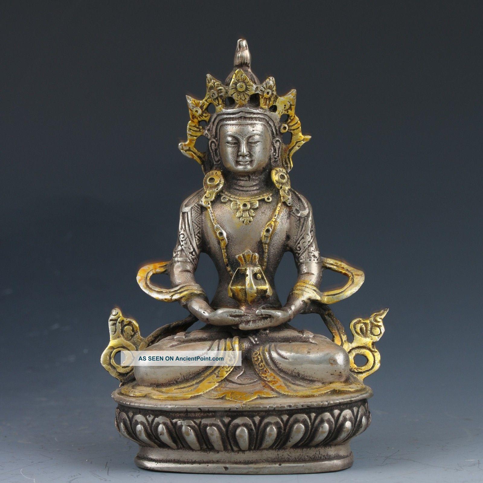 Vintage Oriental Chinese Cupronickel Hand - Carved Buddha Statue Buddha photo