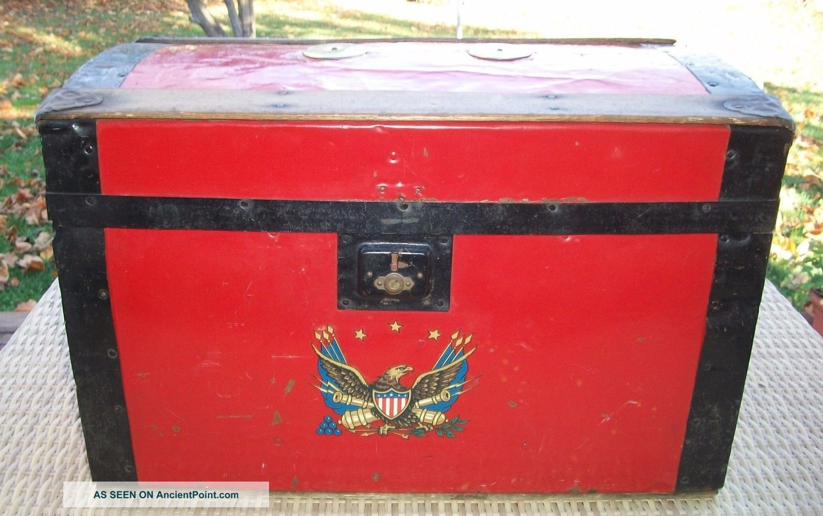 Antique 1920 ' S Feigenbaum Bright Red Toy Trunk - Wood - Tag - Made In Usa - Wow 1900-1950 photo