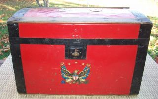 Antique 1920 ' S Feigenbaum Bright Red Toy Trunk - Wood - Tag - Made In Usa - Wow photo