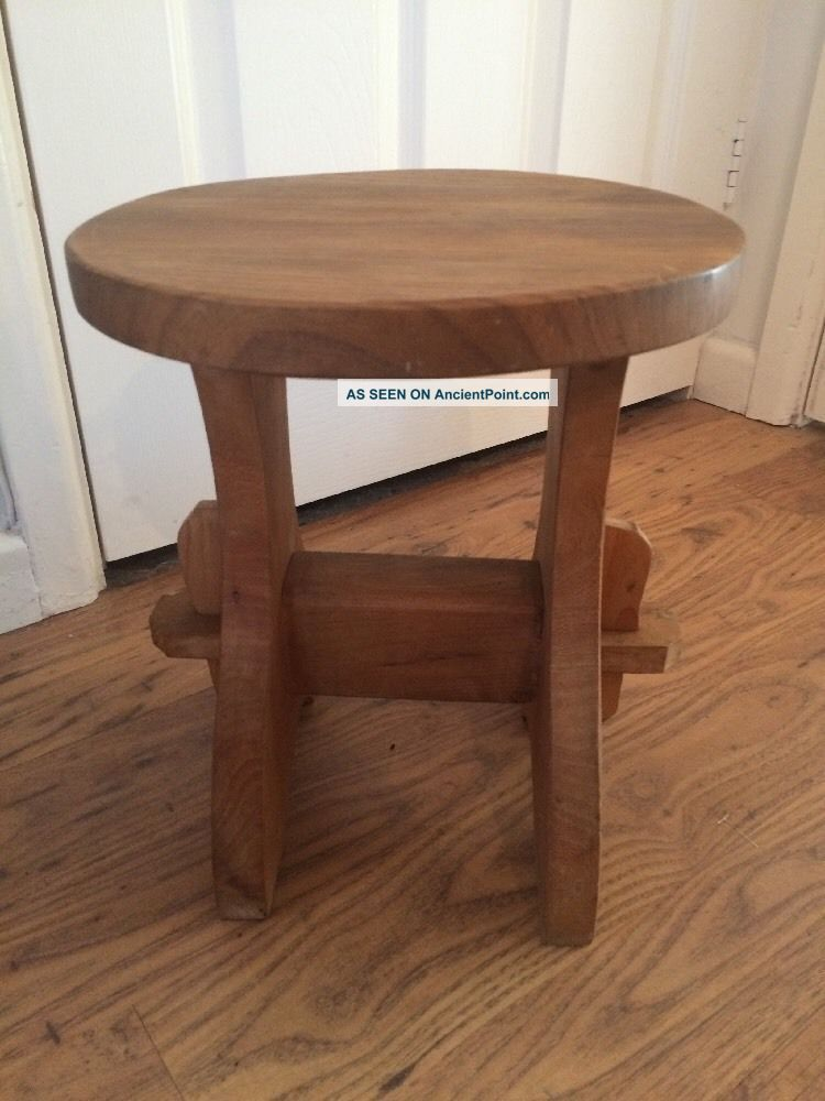 Antique Vintage Wooden Milking Stool Rustic Country Shabby Chic Farmhouse 1900-1950 photo