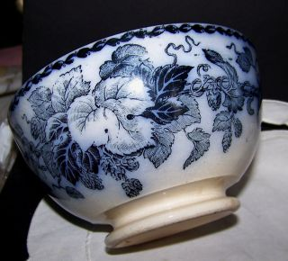 Antique Flow Blue Transferware Waste Bowl