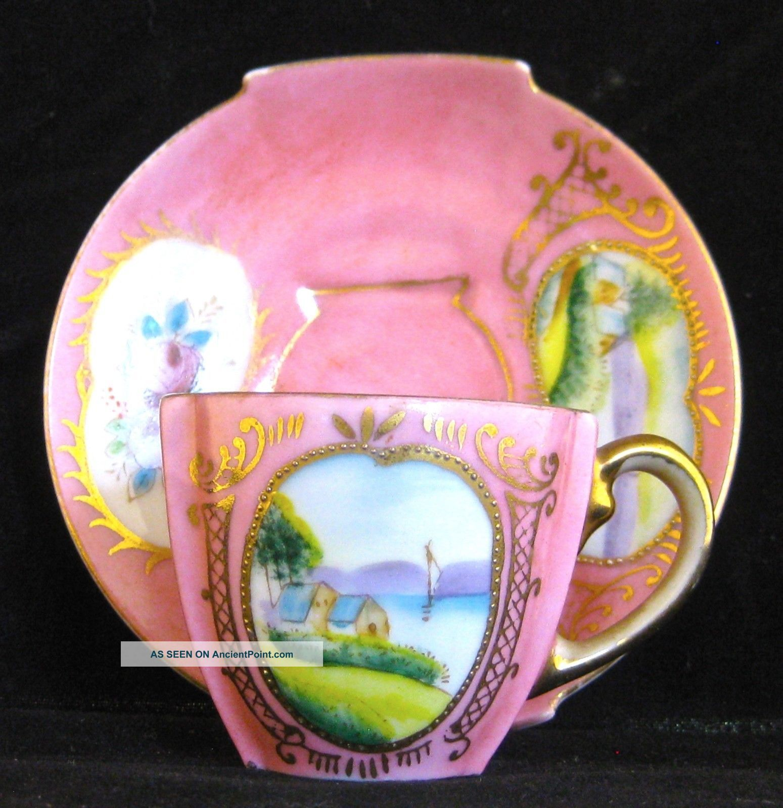 Vintage Footed Scenic Pink Floral Demitasse Chocolate Cup Saucer Ardalt Lenwile Cups & Saucers photo