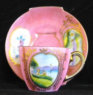 Vintage Footed Scenic Pink Floral Demitasse Chocolate Cup Saucer Ardalt Lenwile photo