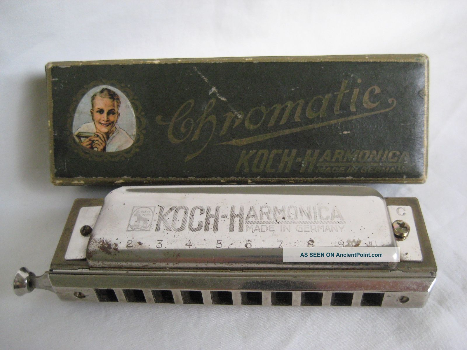 Old German Koch Chromatic Harmonica Boxed Wind photo