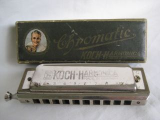 Old German Koch Chromatic Harmonica Boxed photo