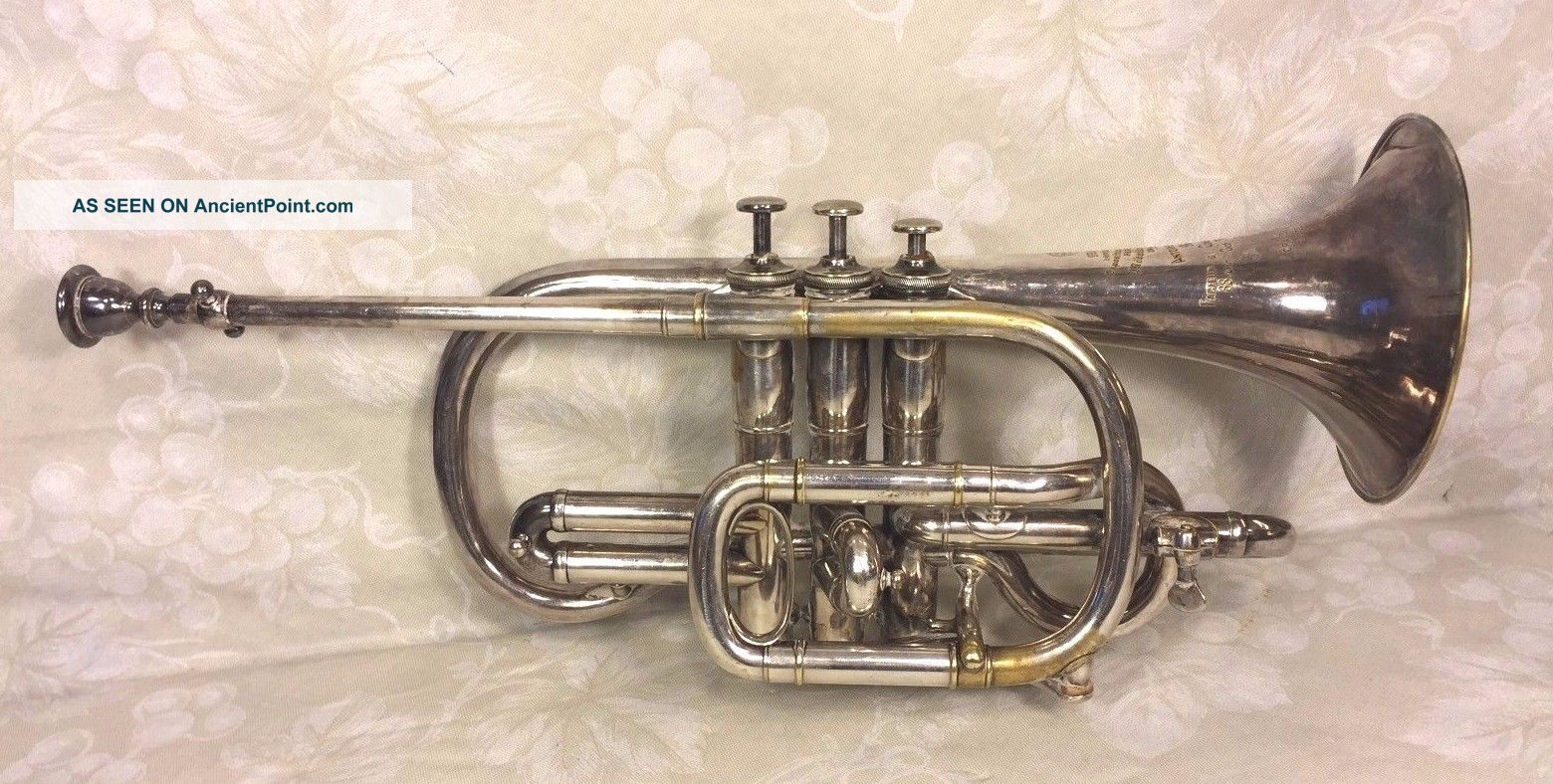 Antique Silver Antoine Courtois Cornet In Wood Case Extra Mouthpiece 18 Brass photo