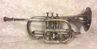 Antique Silver Antoine Courtois Cornet In Wood Case Extra Mouthpiece 18 photo