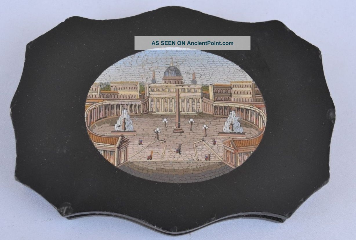 19th Century Italian Micro - Mosaic The Basilica And Piazza Of St Peters In Rome Other Antique Decorative Arts photo