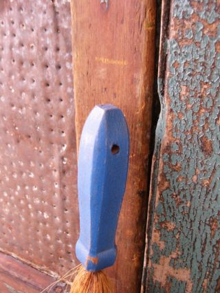 Small Antique Whisk Broom With Wood Handle Cupboard Blue Paint photo