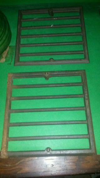 4 Small Cast Iron Antique Floor Grates.  8 In X 8 In photo