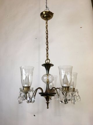 5 - Light Glass And Crystal Chandelier photo